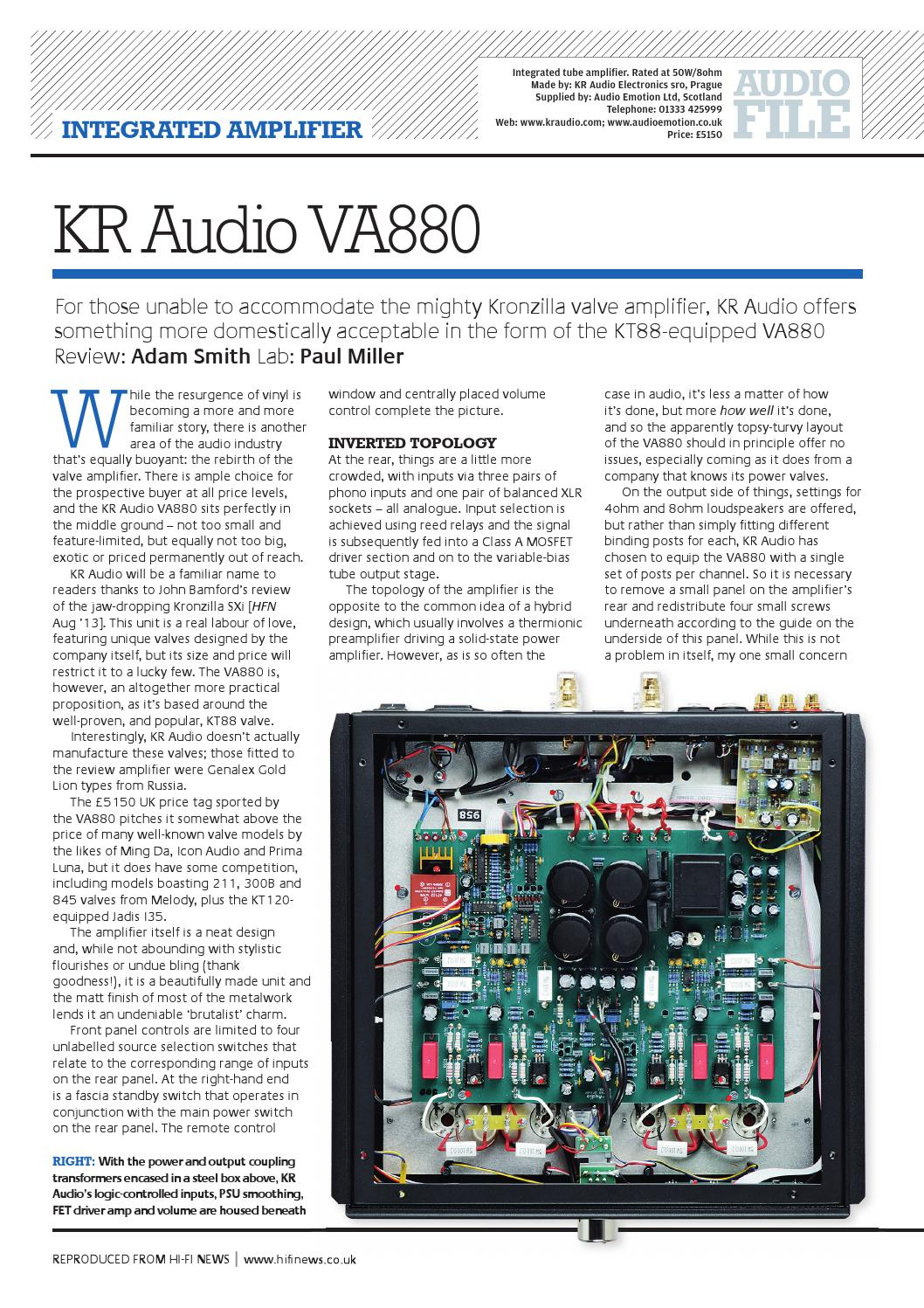 Kr Audio Va880 Integrated Amplifier Hifi News Review By High Power With Mosfet Emotion Issuu