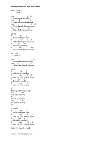 Lirik Noah Hero Disertai Chord Gitar By Kordgitaris Issuu
