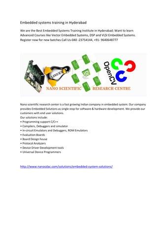 Embedded Systems Training In Hyderabad By Nanocdac Issuu