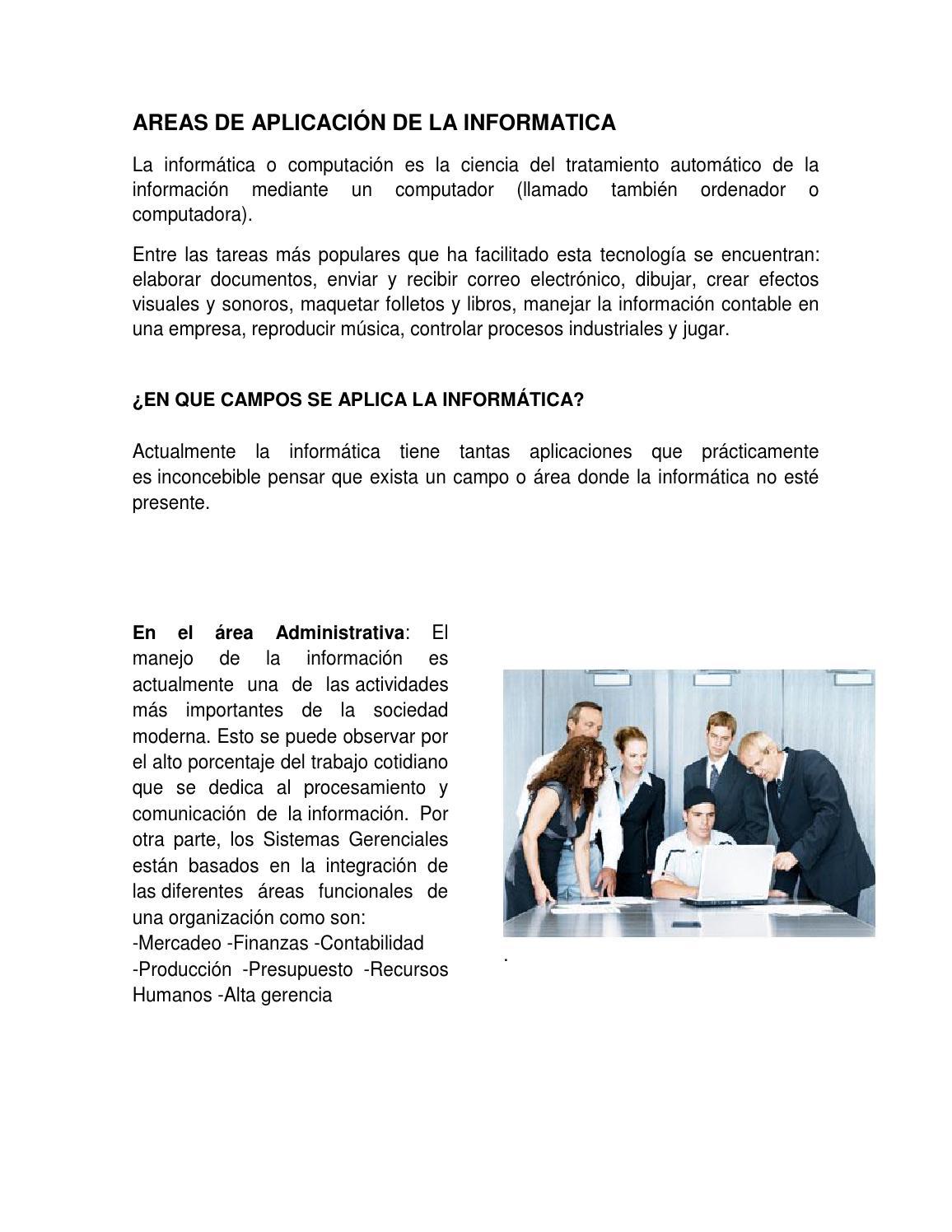 Areas donde se aplica la informatica by Yessika Peña - issuu