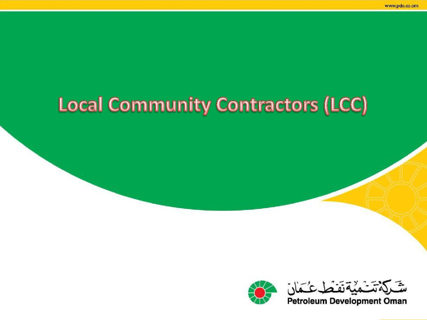 Local Community Contractor Program - PDO by Mohammed Al