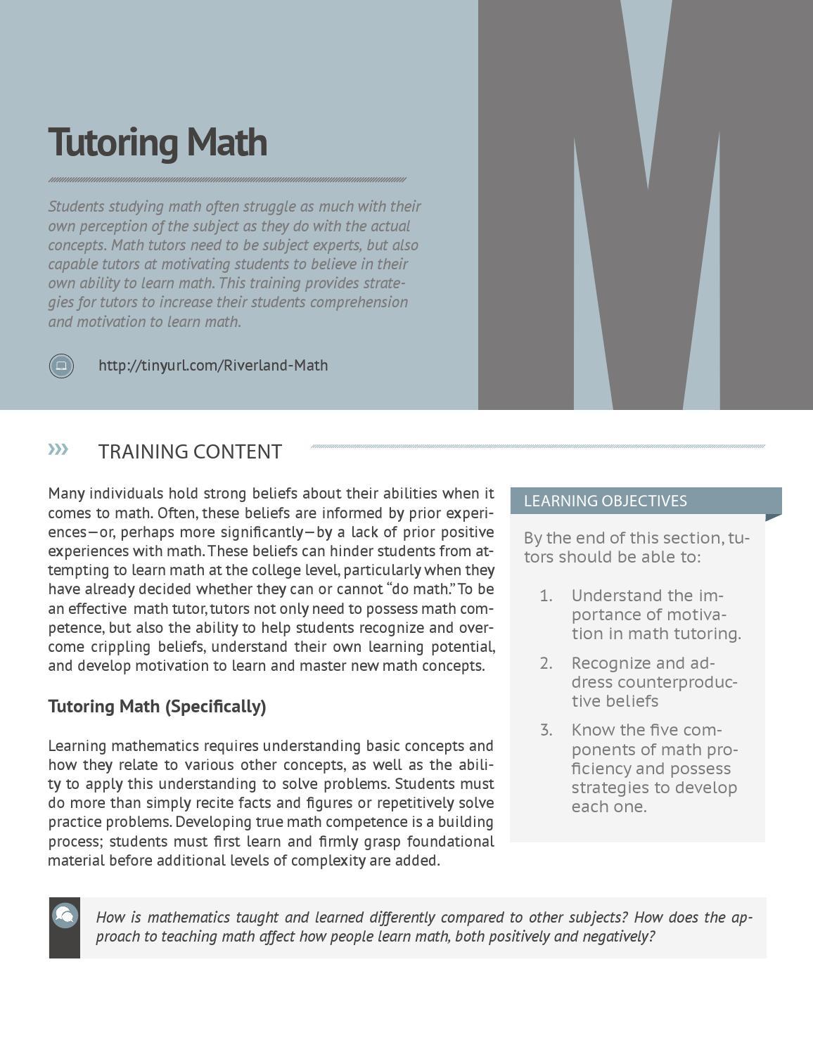 Peer Tutor Training Manual by Derek - issuu