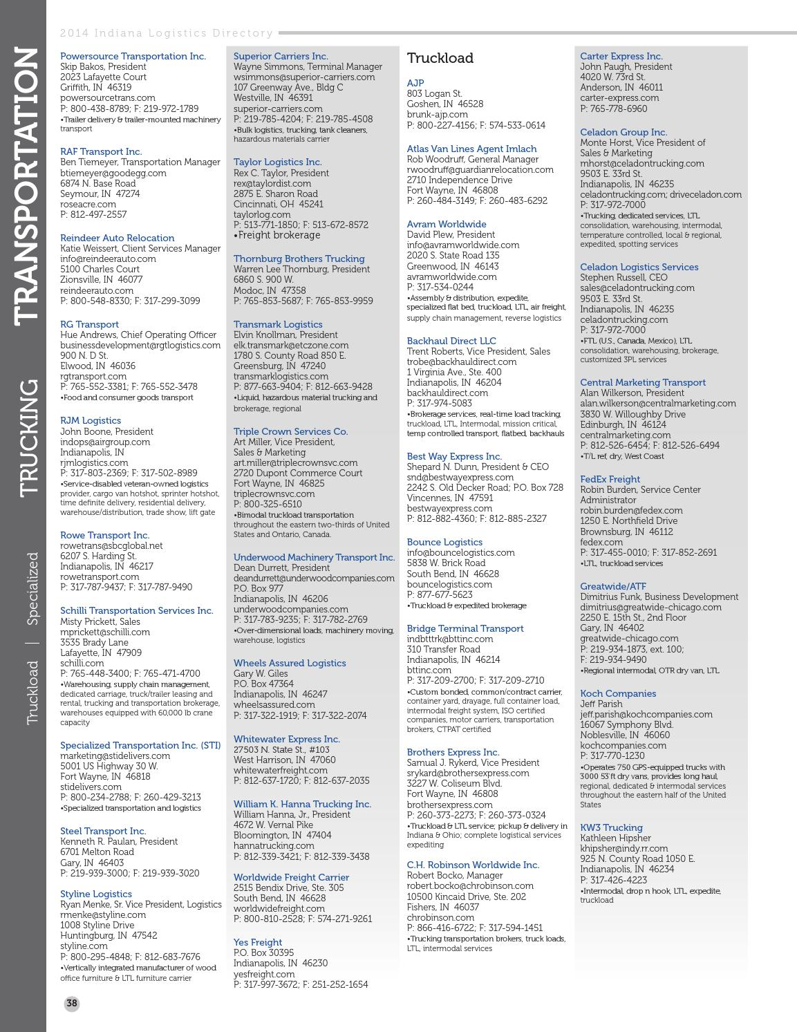 2014 Indiana Logistics Directory by Ports of Indiana - issuu