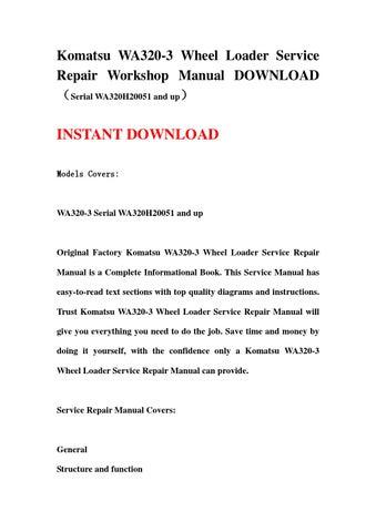 komatsu wa120 3 wiring diagram wiring diagramkomatsu wa320 3 wheel loader service repair workshop manual download