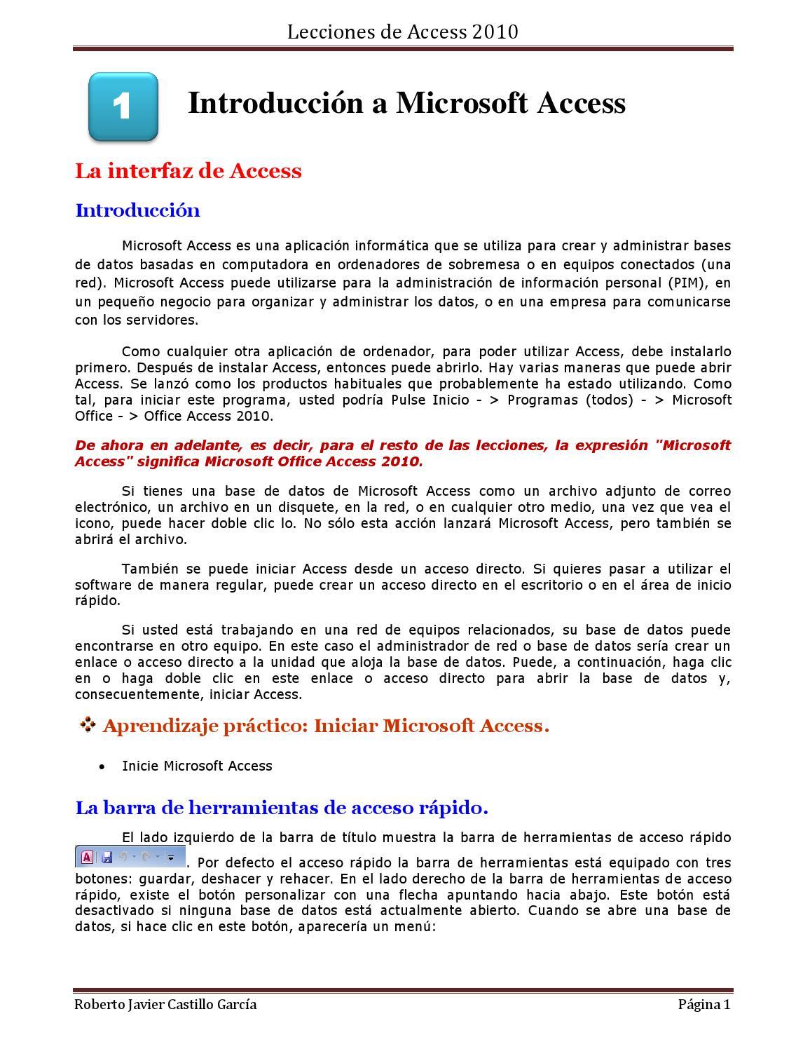 1 introducción a microsoft access 1 16 by roberto castillo garcia ...