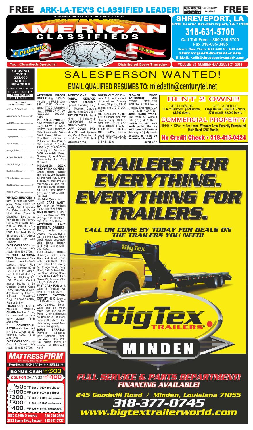American Classifieds Shreveport La Aug 21 2014 By 9910 Vw Beetle Golf Jetta Sending Unit Electric Gas Fuel Pump Issuu