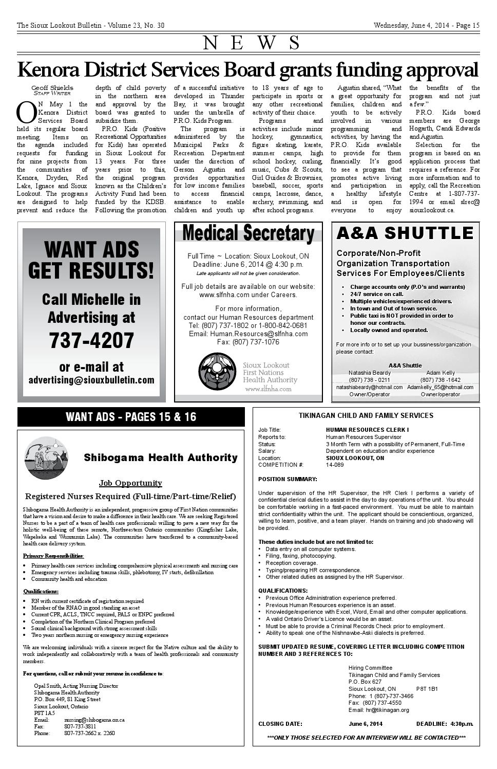 The Sioux Lookout Bulletin - Vol. 23 - No. 30 - June 4, 2014 by The ...