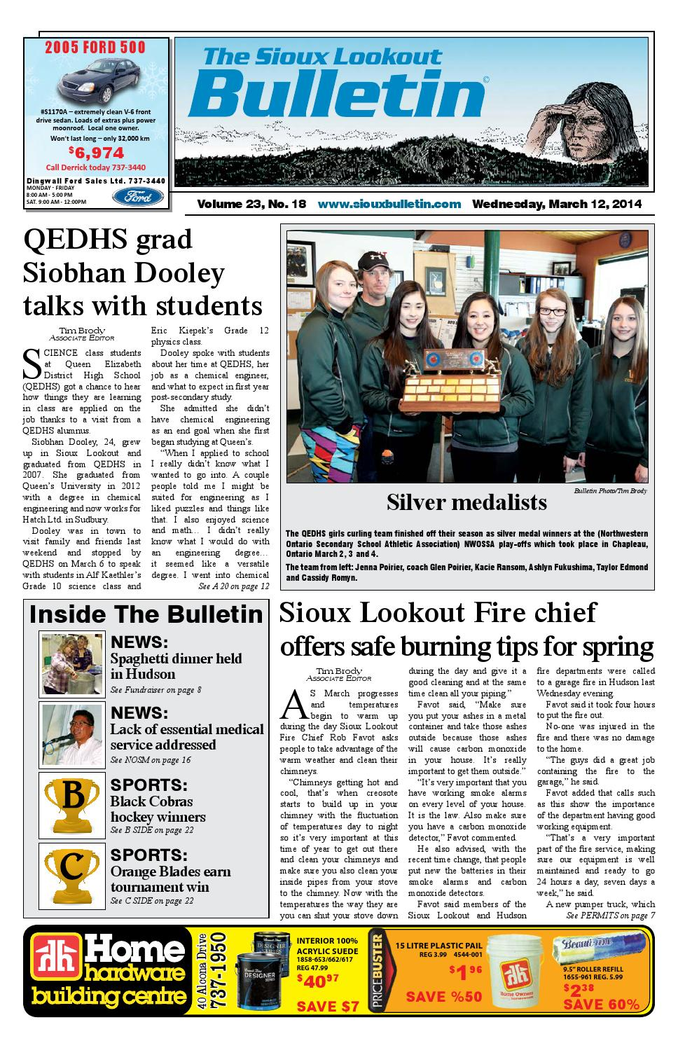 The Sioux Lookout Bulletin - Vol. 23 - No. 18 - March 12, 2014 by The Sioux  Lookout Bulletin - issuu