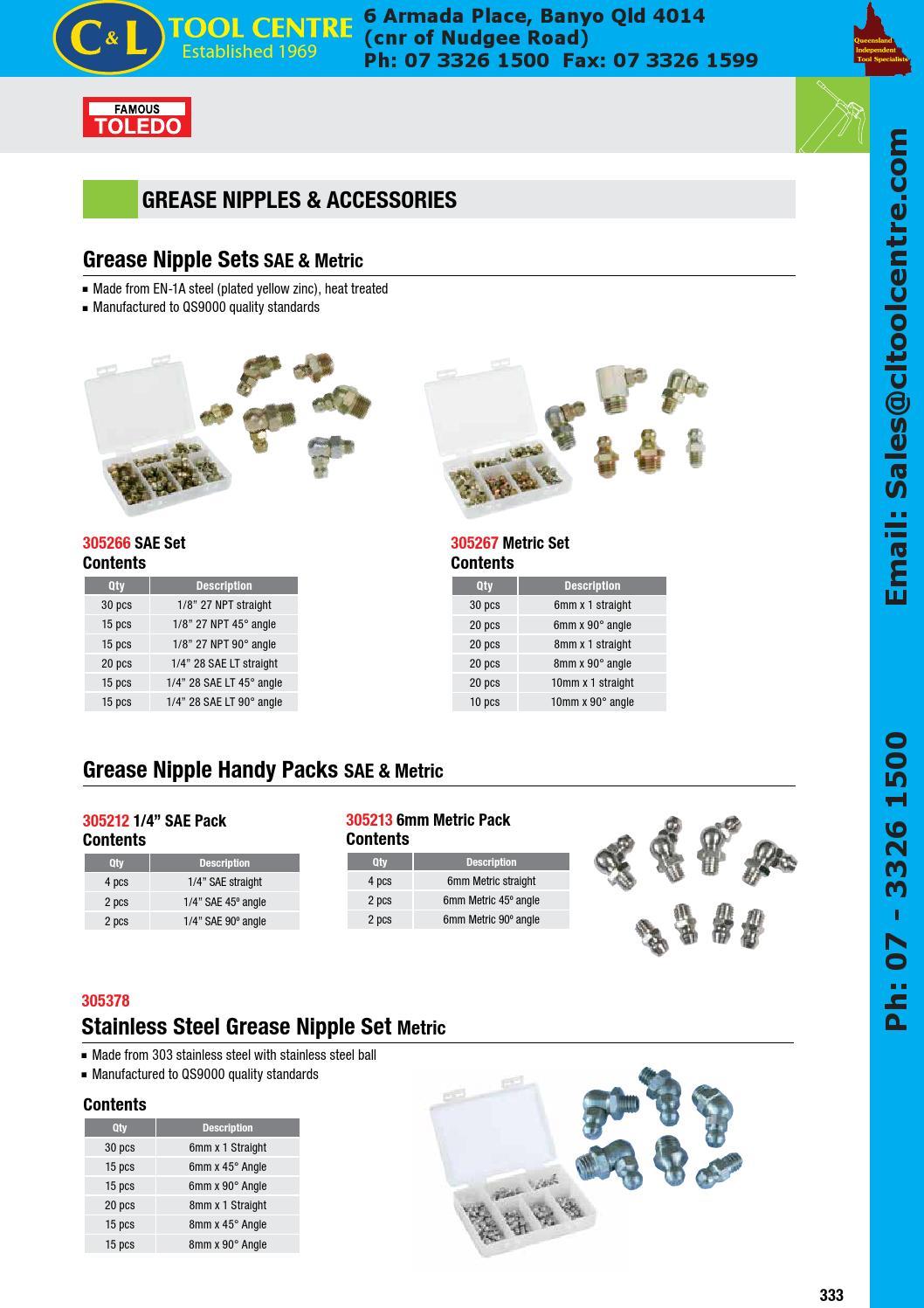 8 PACK MOST POPULAR GREASE NIPPLE HANDY PACK METRIC TOLEDO 305213
