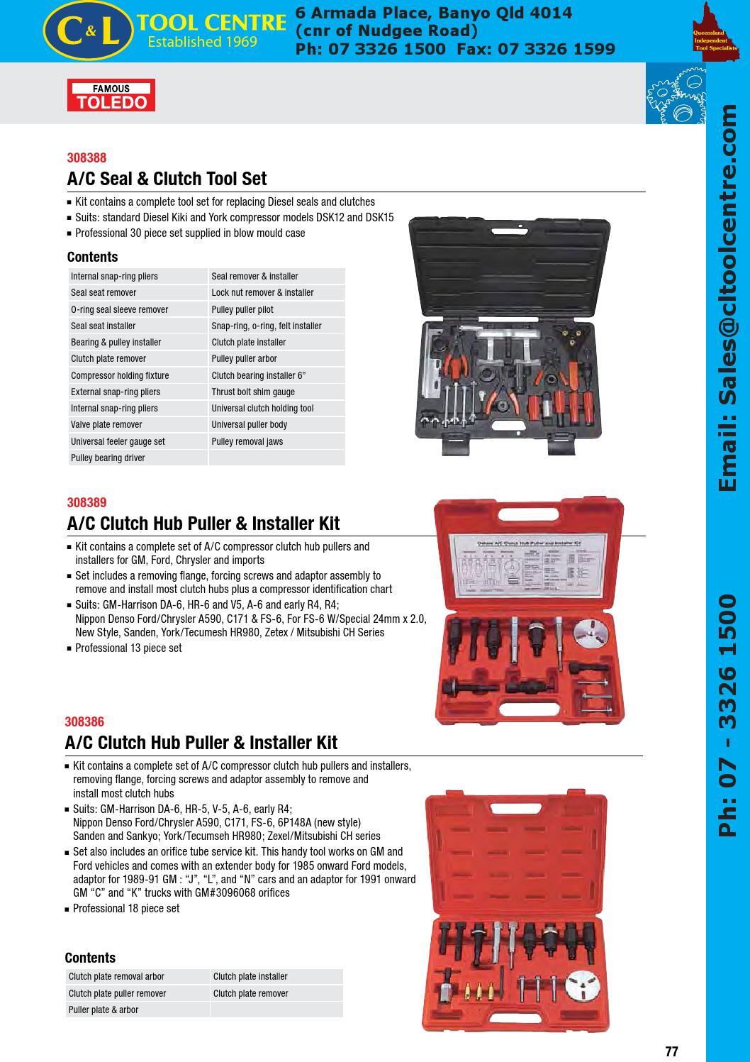 A//C Clutch Hub Puller /& Installer Kit 13 Piece Toledo 308389
