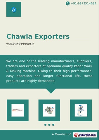 Corrugated Box Making Machines by Chawla exporters by