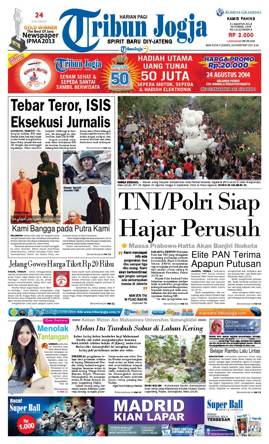 Tribunjogja 21 08 2014 By Tribun Jogja Issuu Tcash Vaganza 32 Milo Malaysia Activ Go