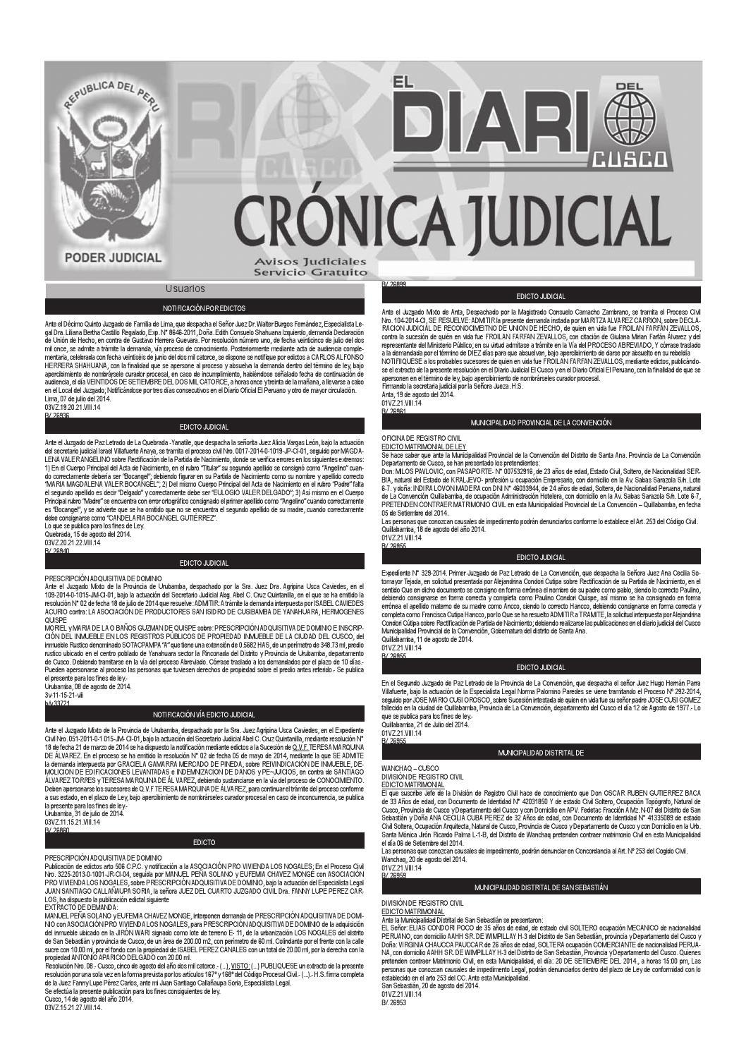 Avisos Judiciales 21 08 14 by El Diario del Cusco - issuu
