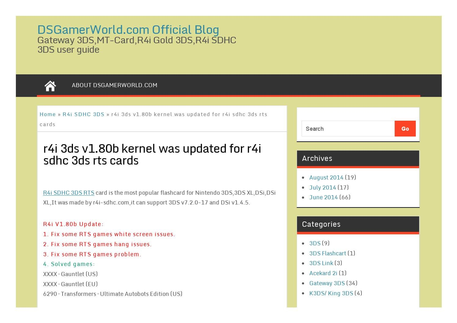 R4i 3ds v1 80b kernel was updated for r4i sdhc 3ds rts cards