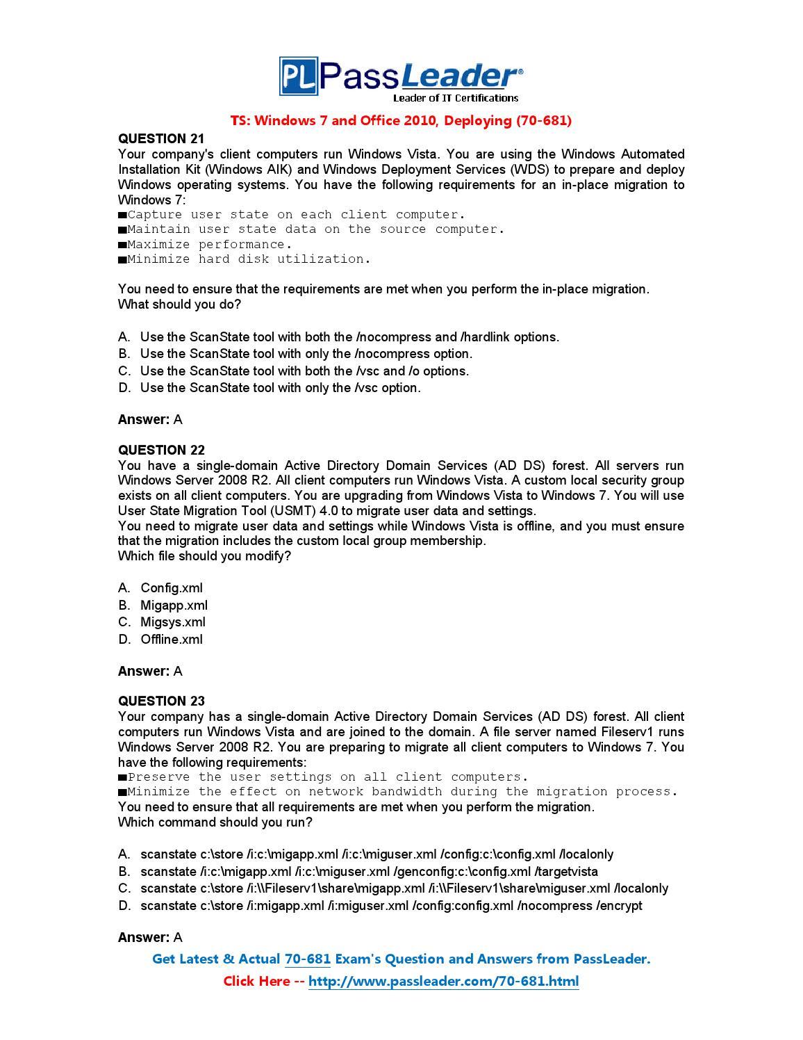 Pass Microsoft 70-681 Exam With New Passleader Braindumps