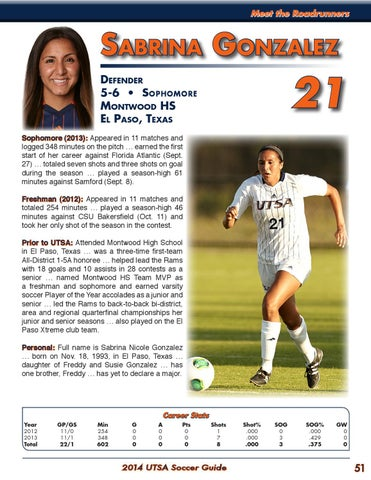 a059d8960 2014 UTSA Soccer Media Guide by UTSA Athletics Communications - issuu