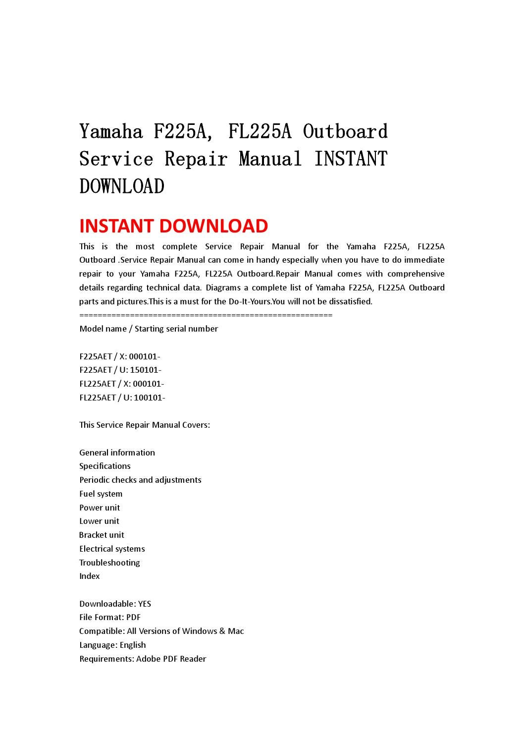 Yamaha f225a, fl225a outboard service repair manual instant