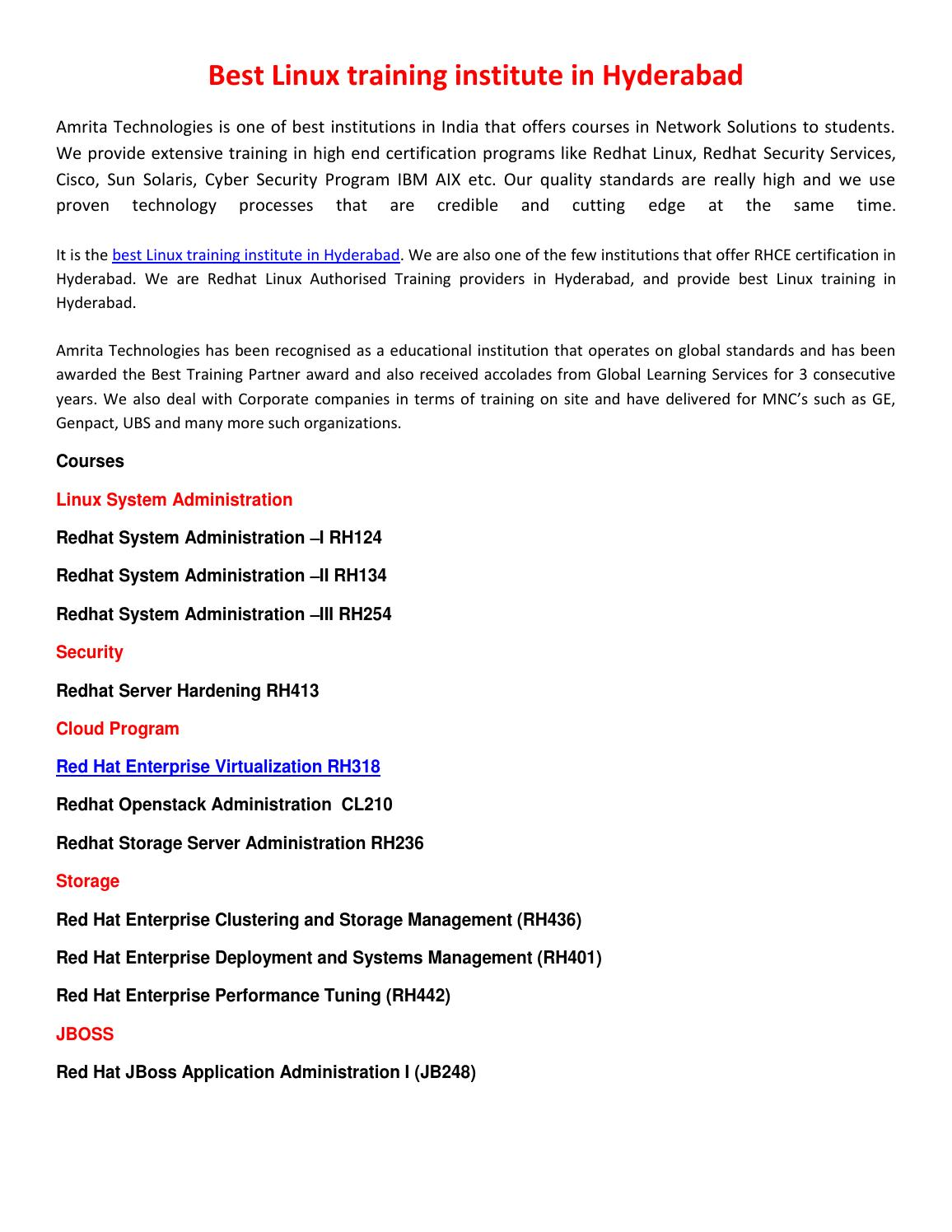 Best linux training institute in hyderabad by Amrita