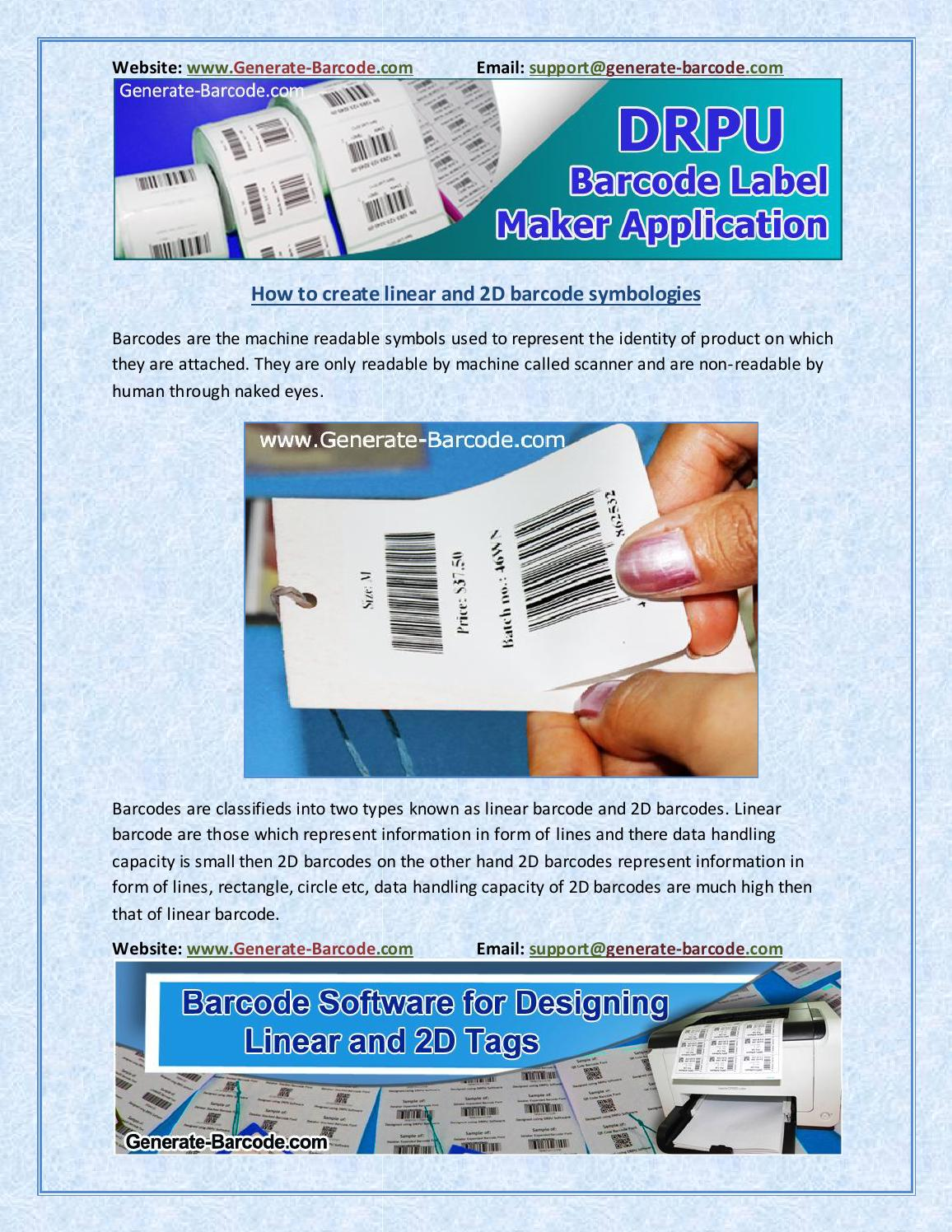 How to create linear and 2d barcode symbologies by Tarun