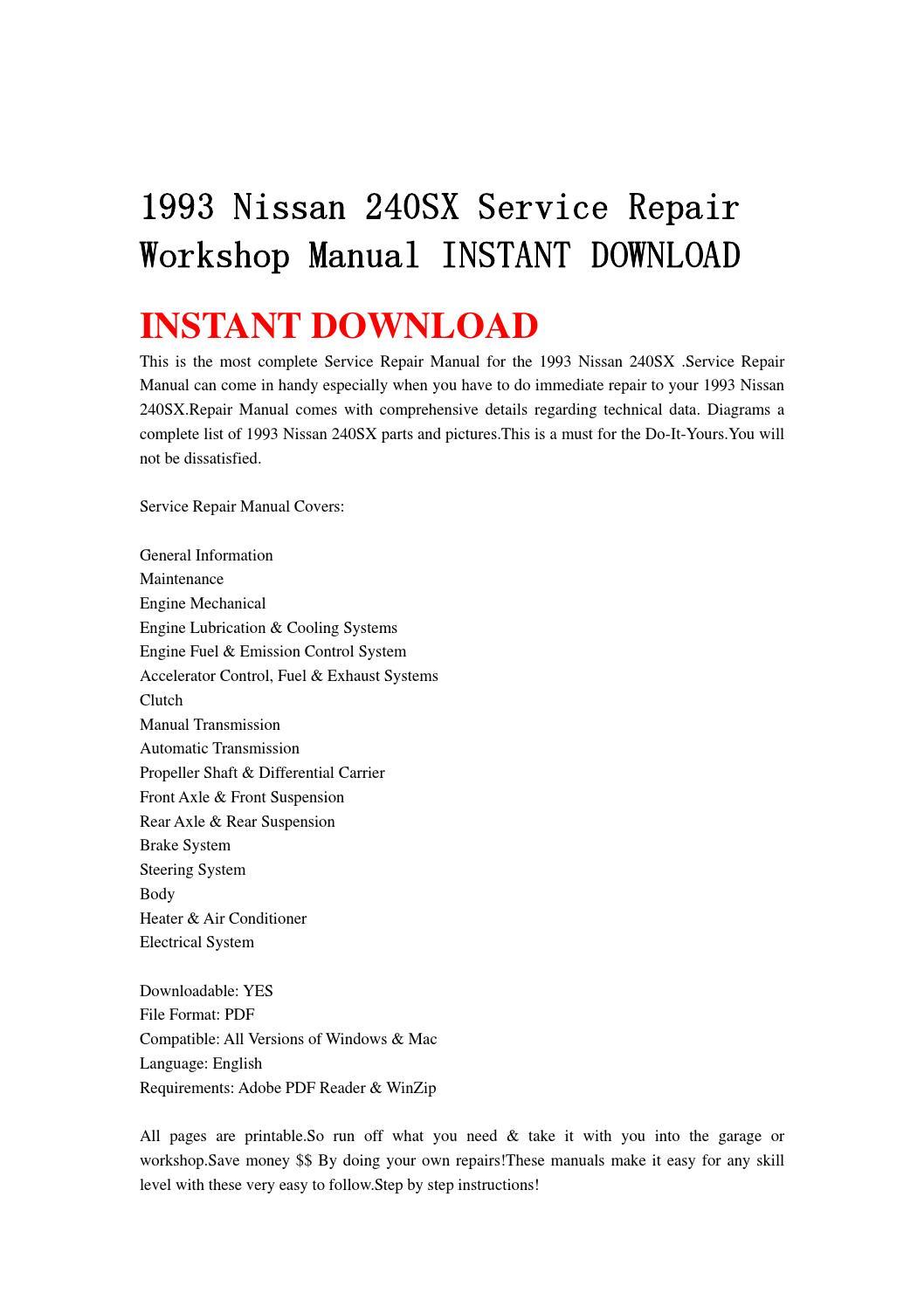 1993 Nissan 240sx Service Repair Workshop Manual Instant Download By 93 Engine Diagram Djhsenfnn Issuu