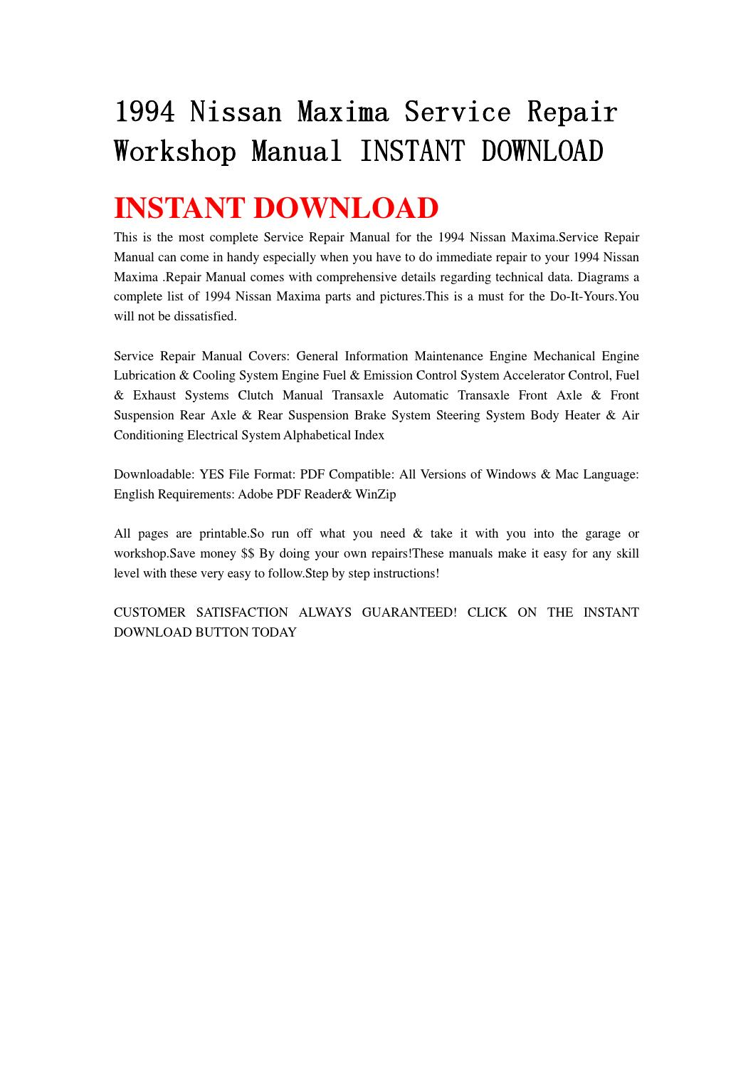 1994 nissan maxima service repair workshop manual instant download by  djhsenfnn - issuu