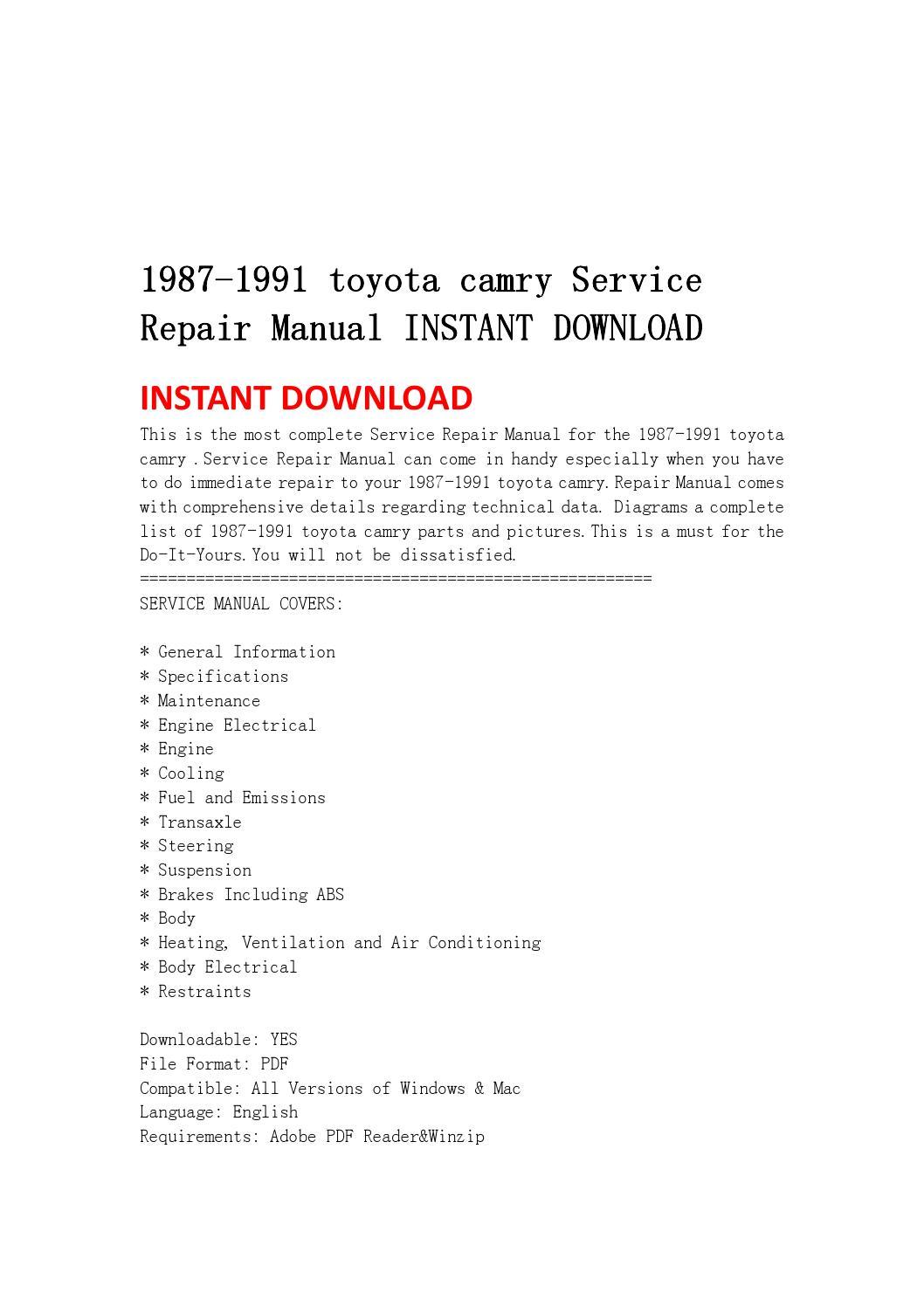 1999 toyota camry repair manual pdf download