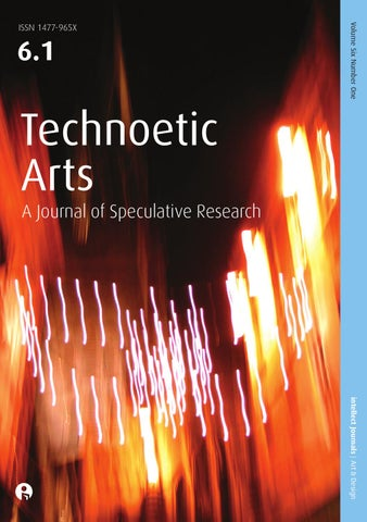 Image result for Technoetic Arts: a Journal of Speculative Research cover