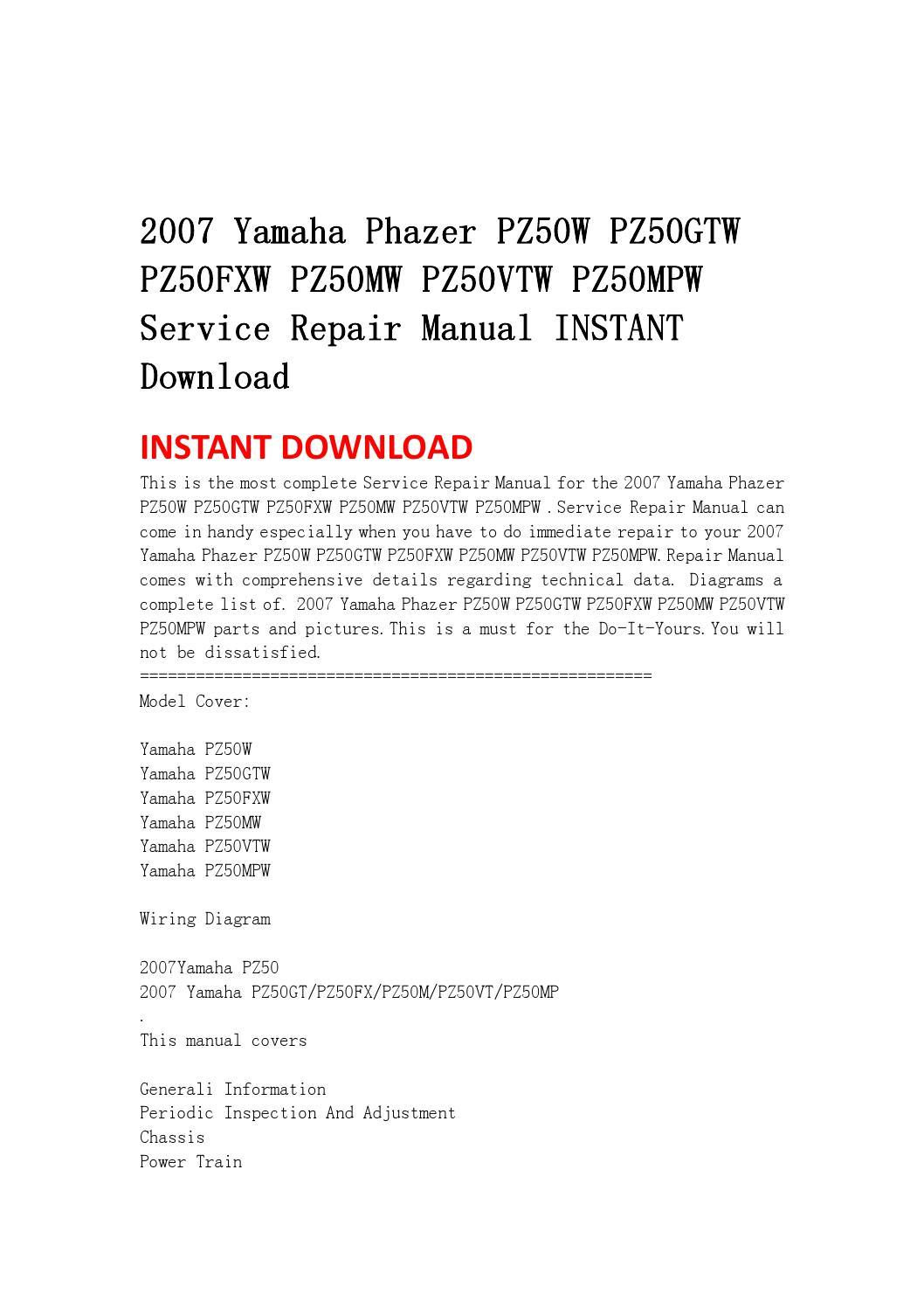 2007 Yamaha Phazer Pz50w Pz50gtw Pz50fxw Pz50mw Pz50vtw