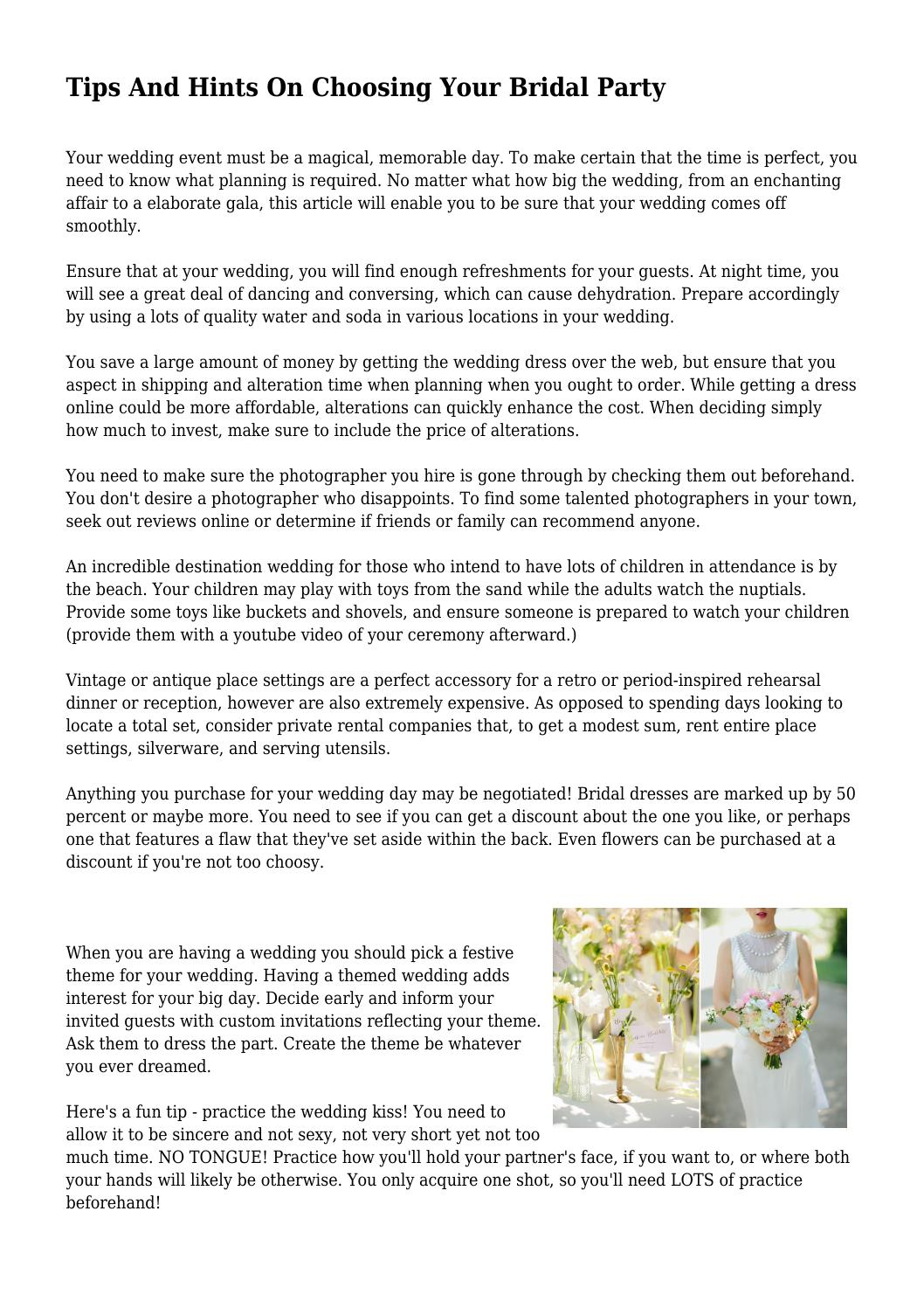 Tips And Hints On Choosing Your Bridal Party by kindheartedfore12 ...