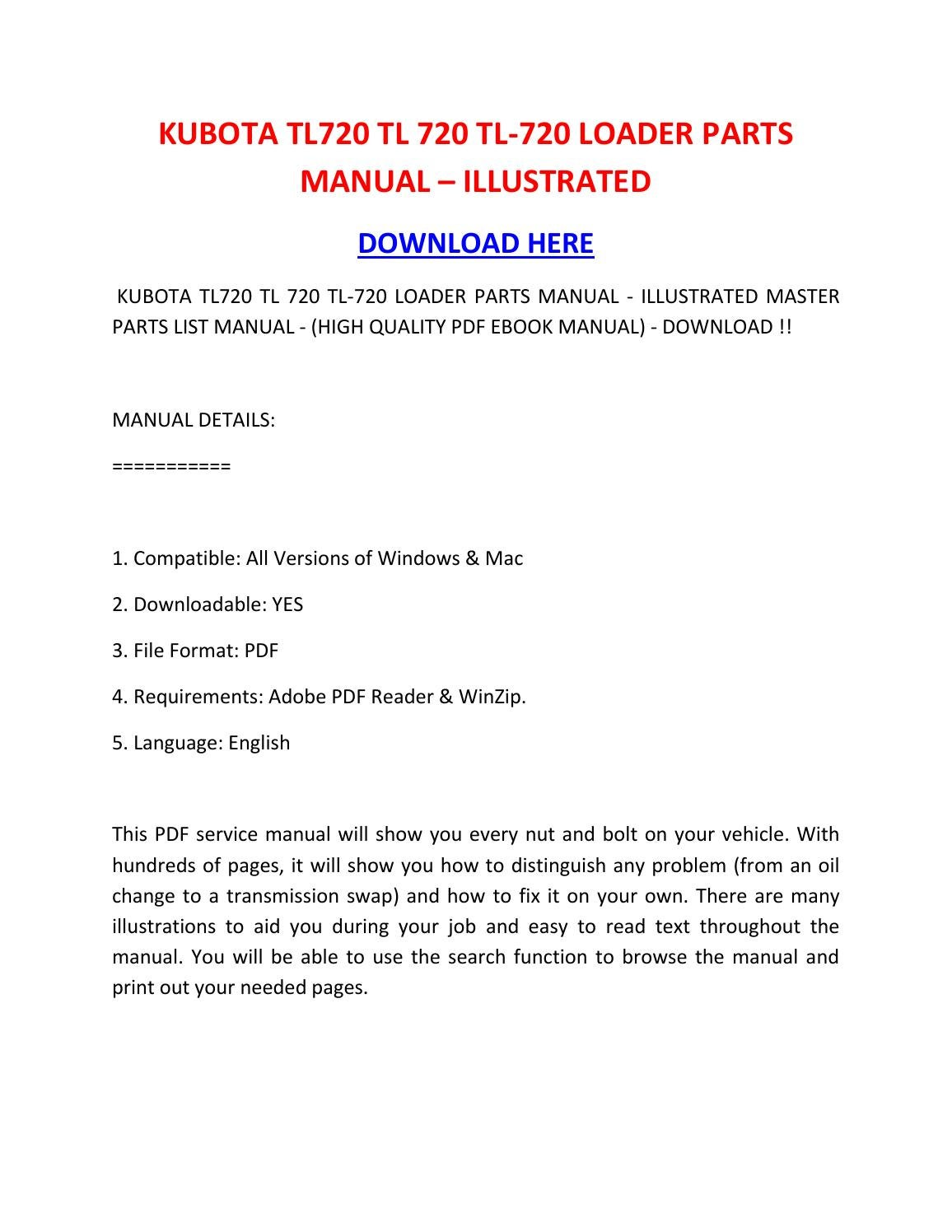 Kubota tl720 tl 720 tl 720 loader parts manual – illustrated by rocky -  issuu