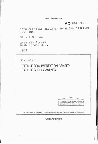 Psychological research on radar observer training by Clifford Stone