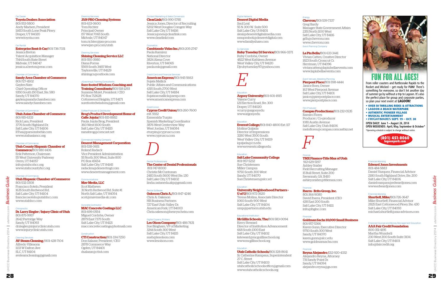 Toyota Dealers Utah >> 2014 Utah Hispanic Chamber Of Commerce Business Directory By