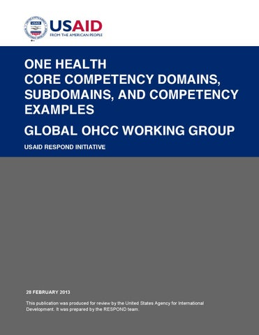 One Health Core Competency Domains Subdomains And Competency