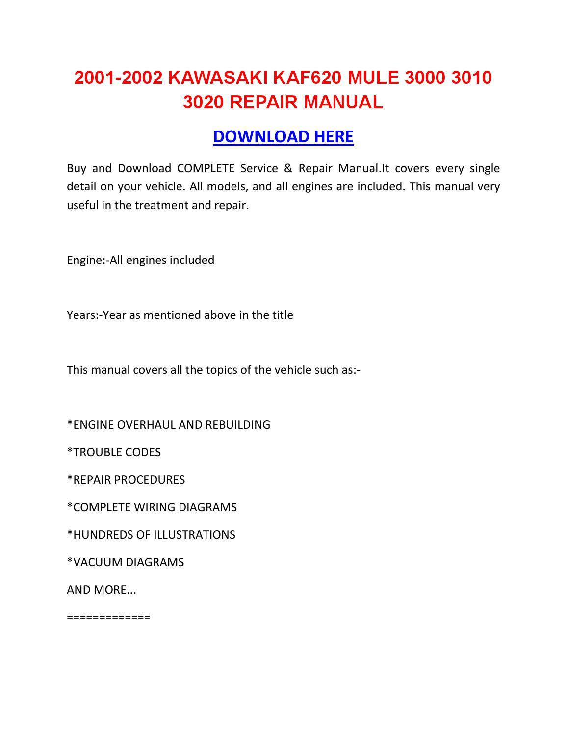2001 2002 kawasaki kaf620 mule 3000 3010 3020 repair. Black Bedroom Furniture Sets. Home Design Ideas