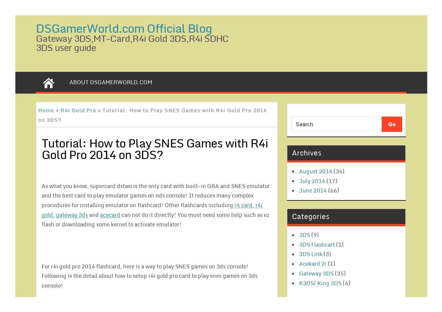 Tutorial how to play snes games with r4i gold pro 2014 on