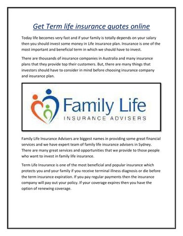 Term Life Insurance Quotes Online Entrancing Get Term Life Insurance Quotes Onlinebrett Beven  Issuu