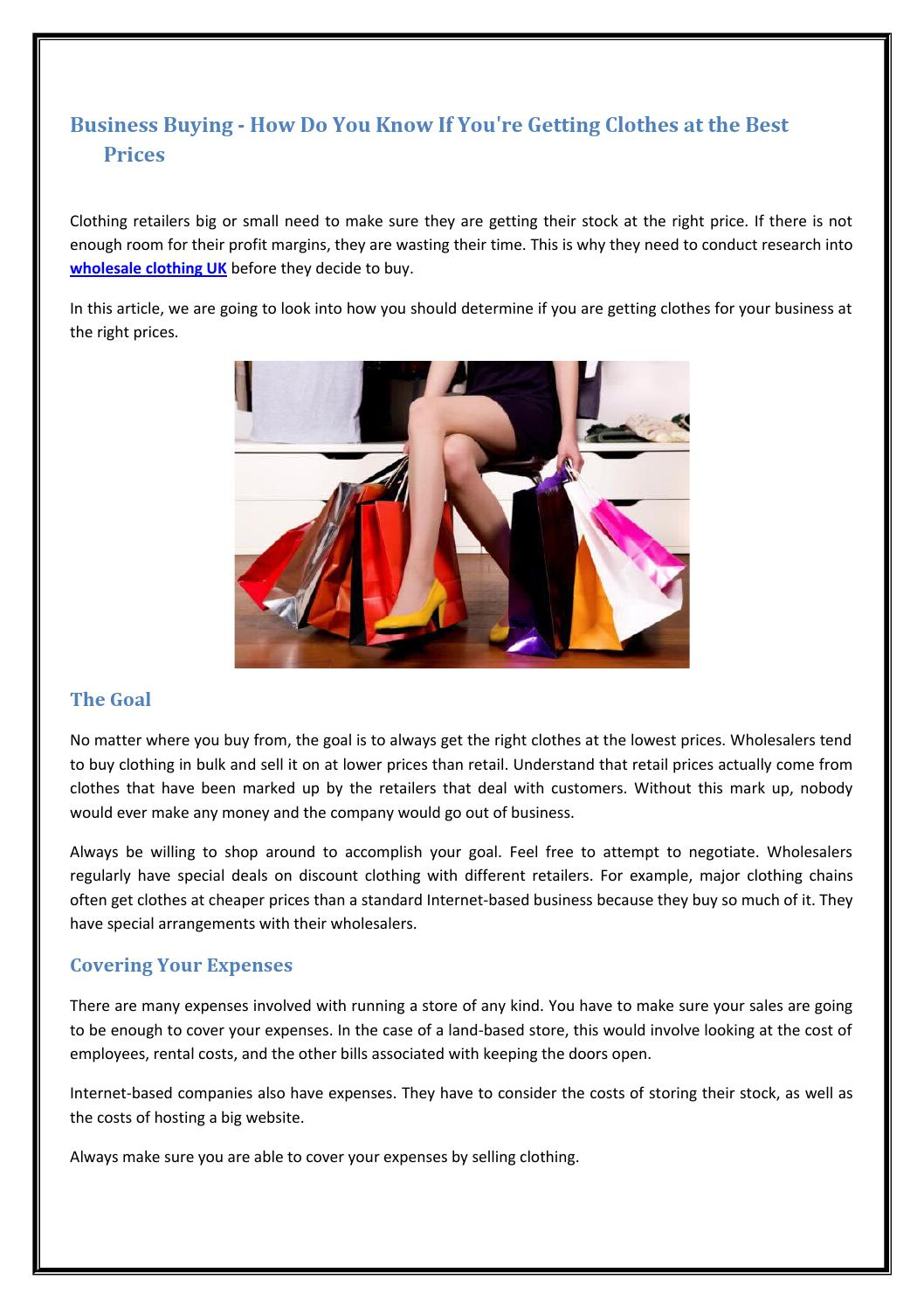 Business Buying How Do You Know If You Re Getting Clothes At The