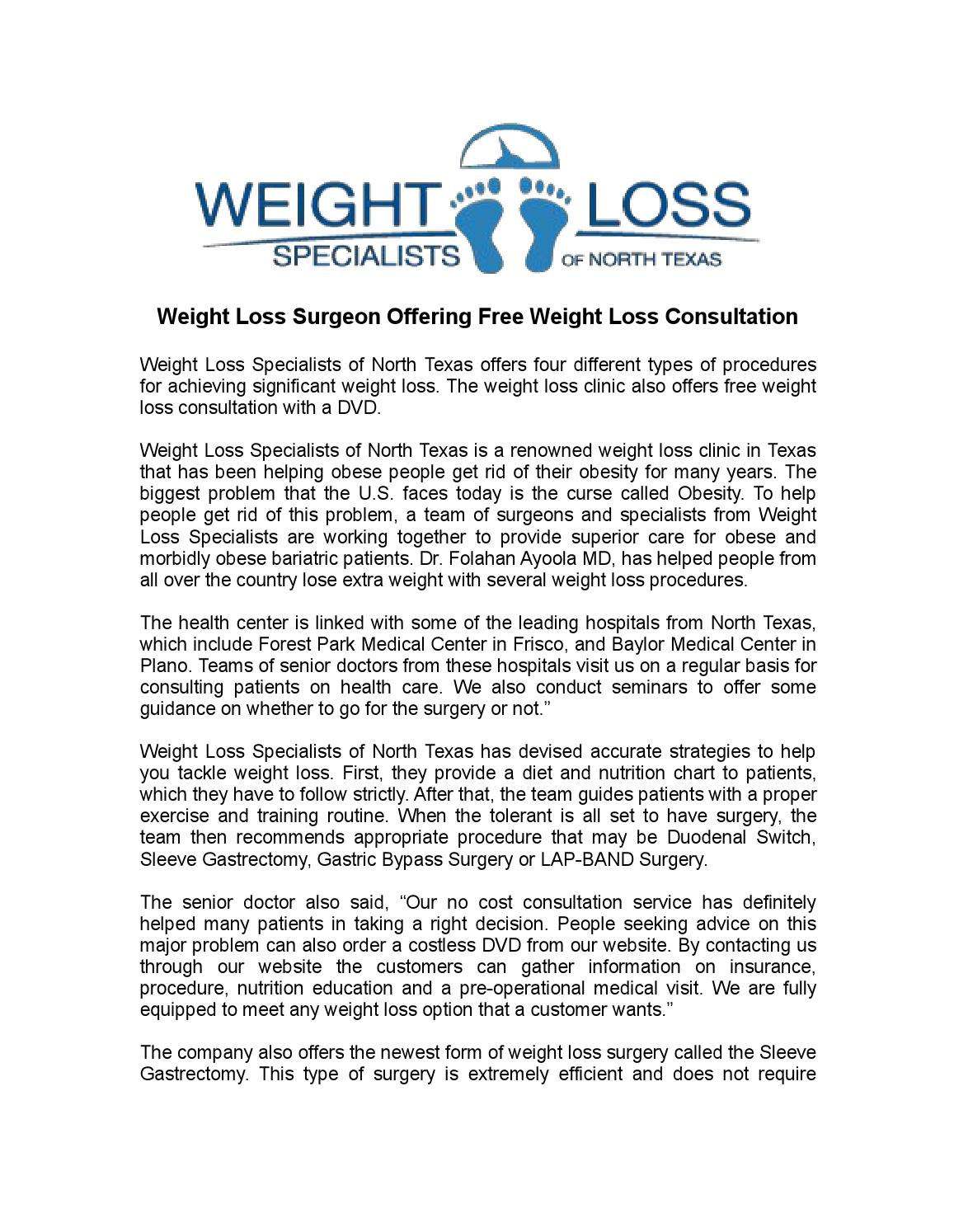 Weight Loss Surgeon Offering Free Weight Loss Consultation By David