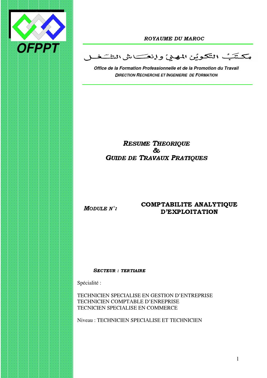 Module 10 Tsge Comptabilit 233 Analytique D Exploitation