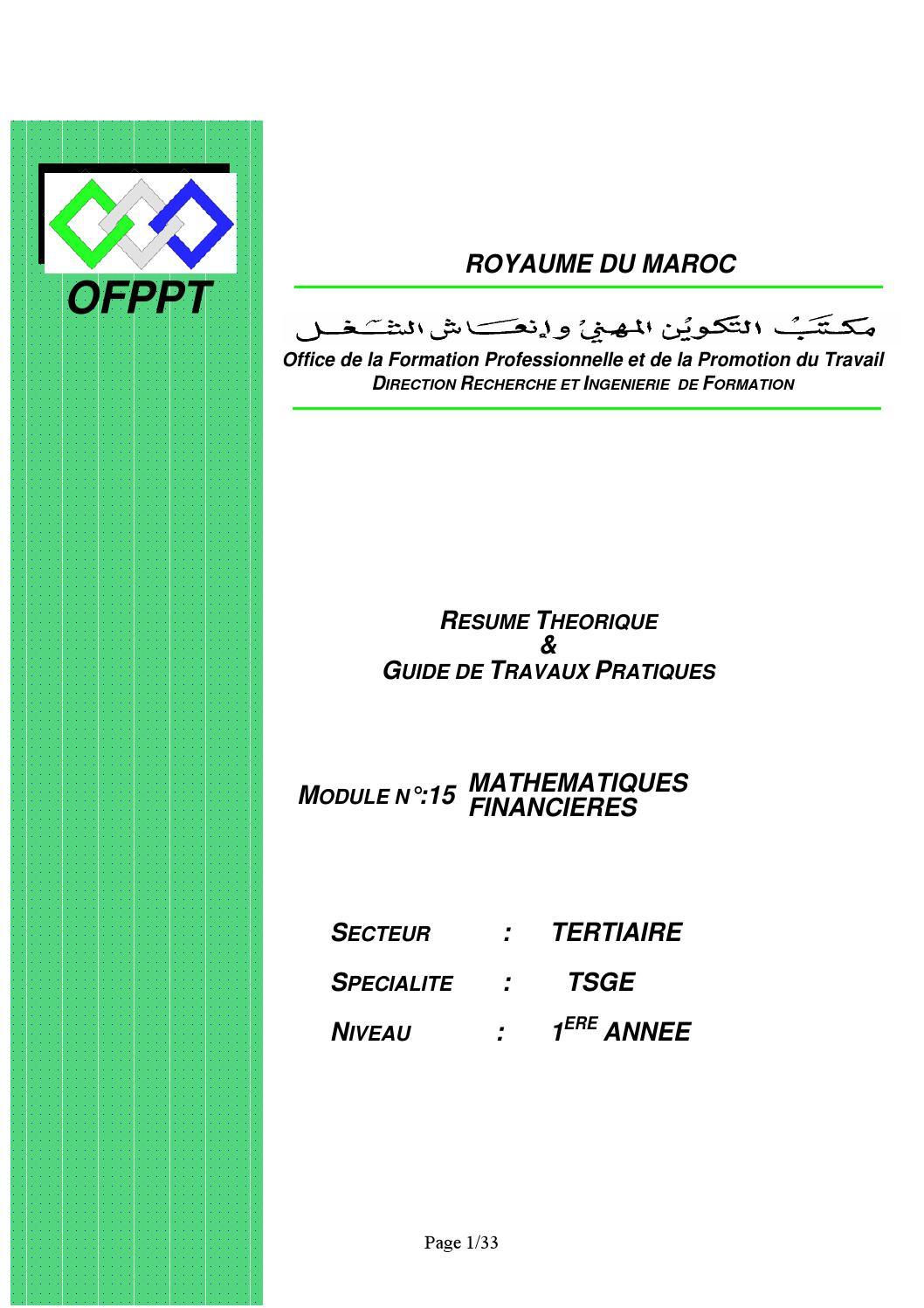 module 11 tsge math u00e9matiques financi u00e8res ofppt by semmah