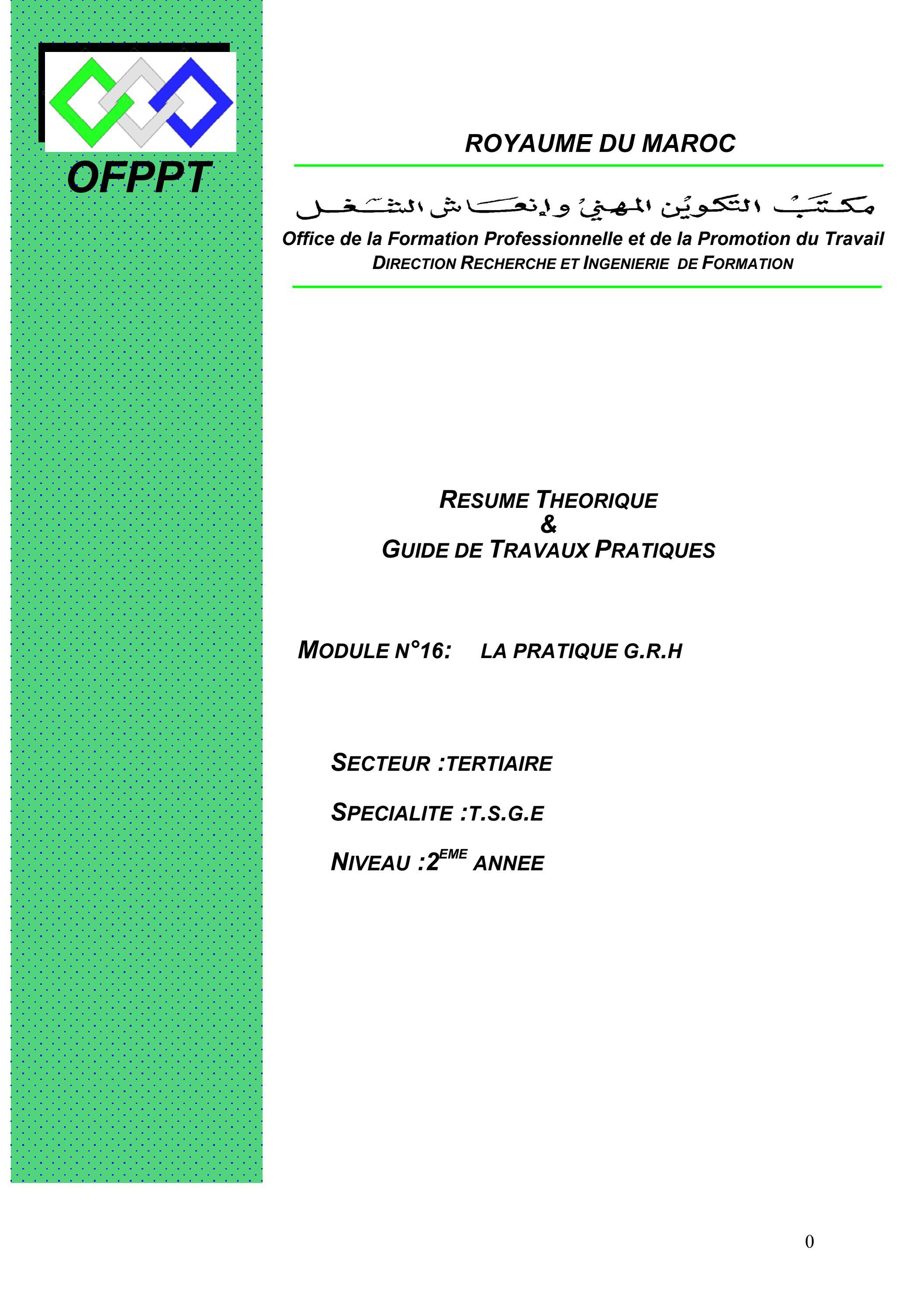module 16 tsge pratique de la gestion de ressource humaine