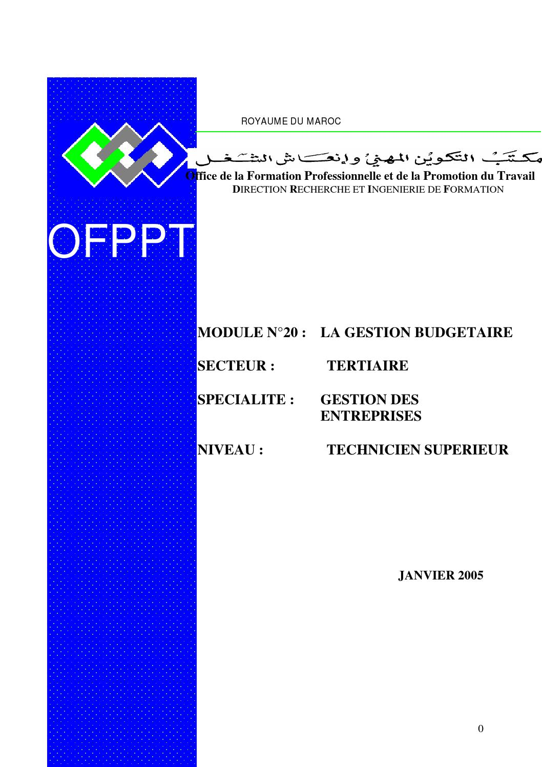 Module 20 tsge gestion budg taire ofppt by semmah el issuu for Stage de gestion chambre des metiers