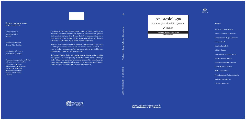 Anestesiologia by Editorial Javeriana - issuu