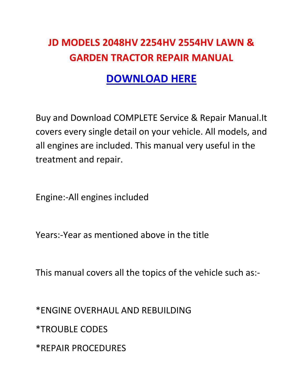 Jd    models 2048hv 2254hv 2554hv lawn   garden tractor repair manual by nikolairacioppiytk  Issuu