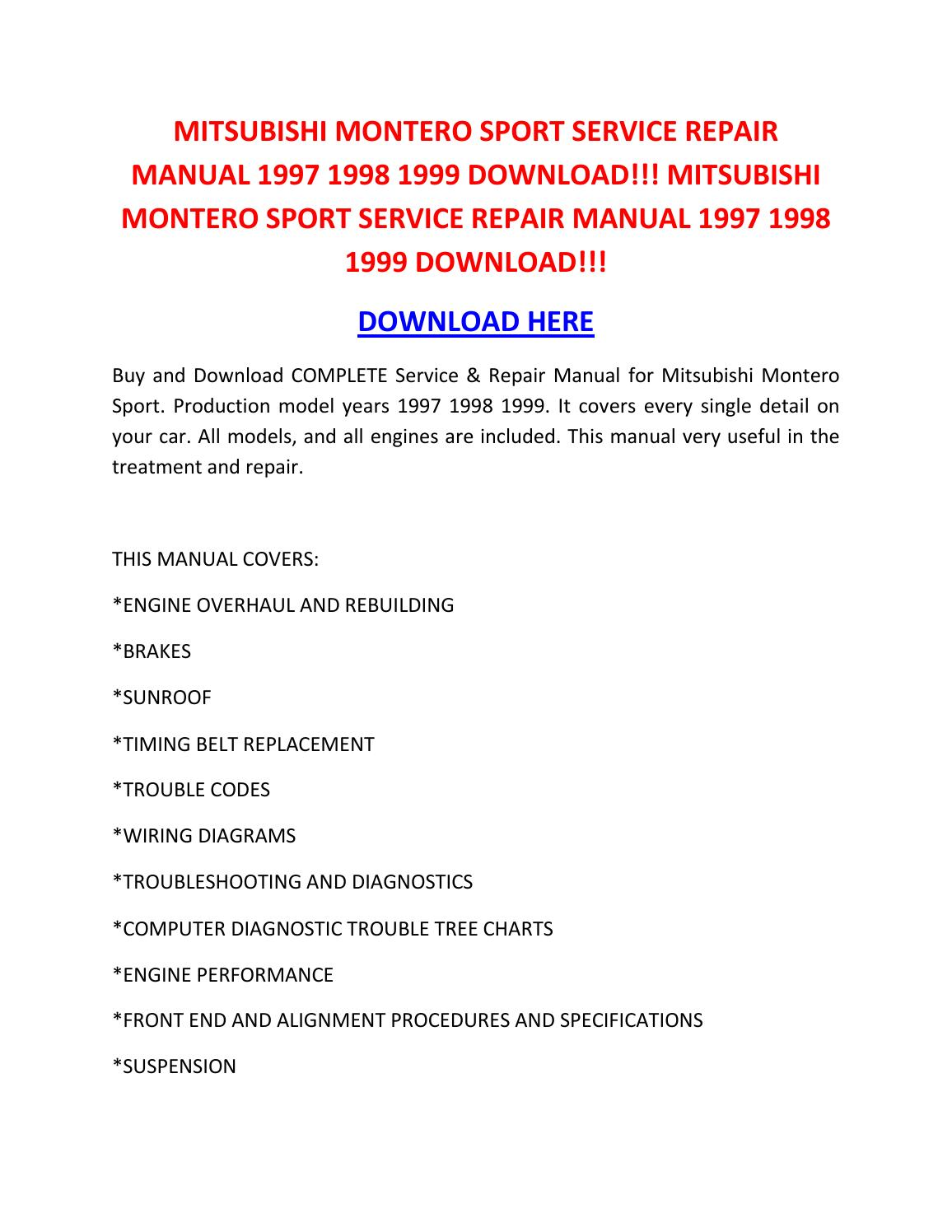 Shop Manual Mitsubishi Montero Sport Service Repair Manual
