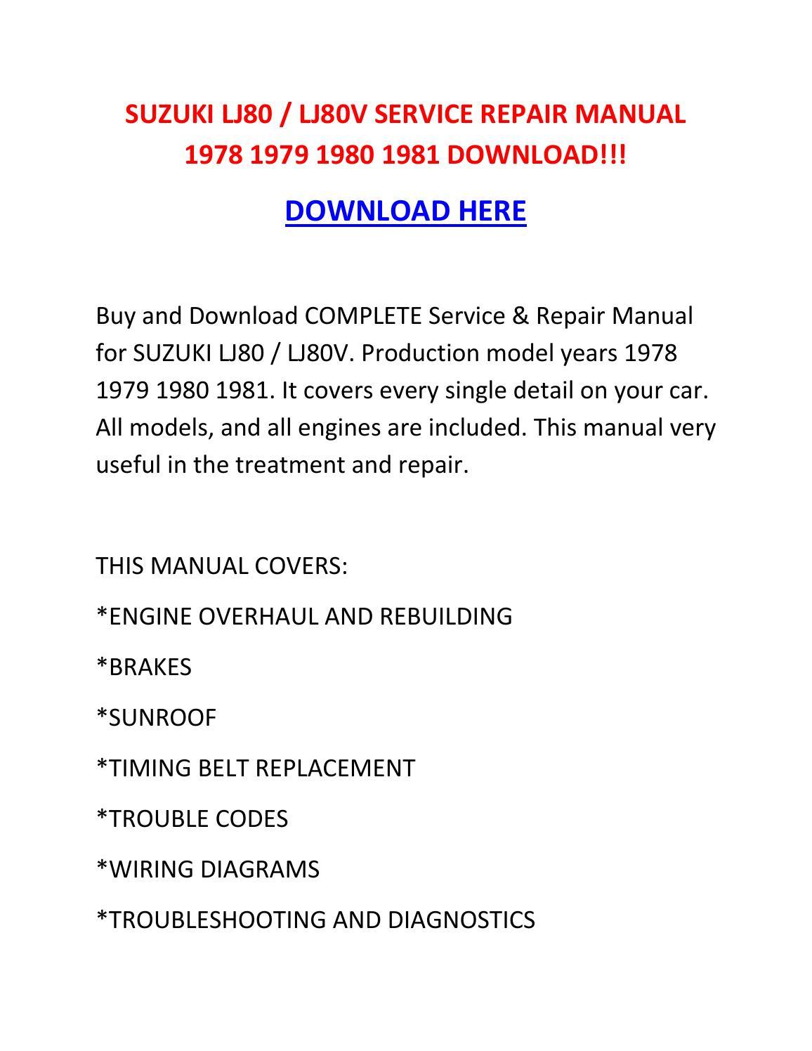 Suzuki Lj80 Lj80v Service Repair Manual 1978 1979 1980