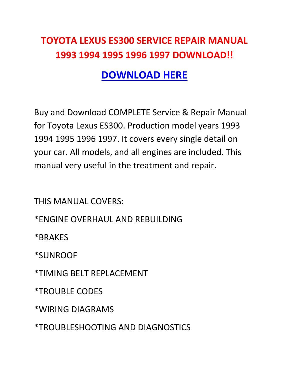Toyota Lexus Es300 Service Repair Manual 1993 1994 1995 border=