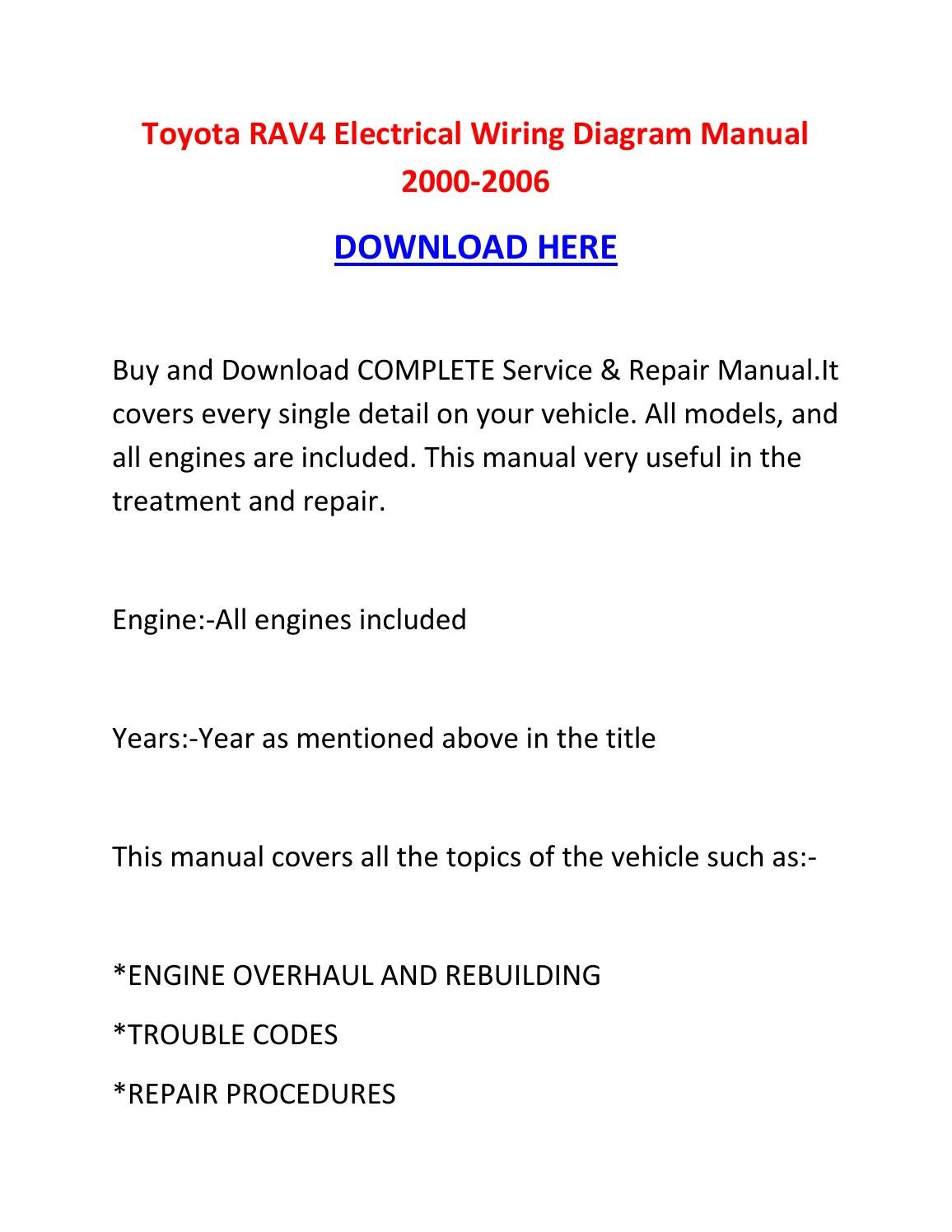 Toyota Rav4 Electrical Wiring Diagram Manual 2000 2006 By