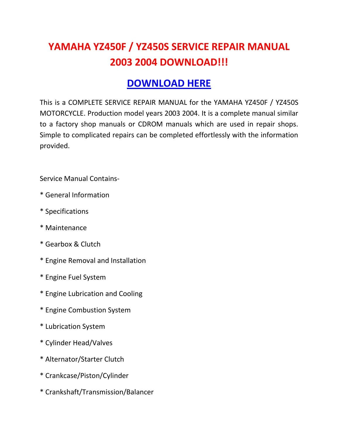 Yamaha Yz450f Yz450s Service Repair Manual 2003 2004
