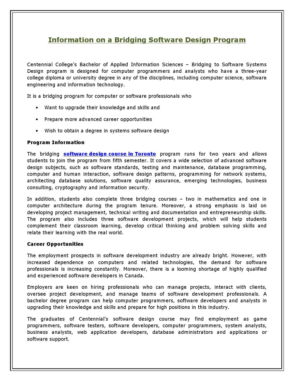 Information On A Bridging Software Design Program By Michael Mcgraw Issuu